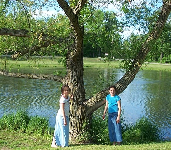 Girls by pond at River City